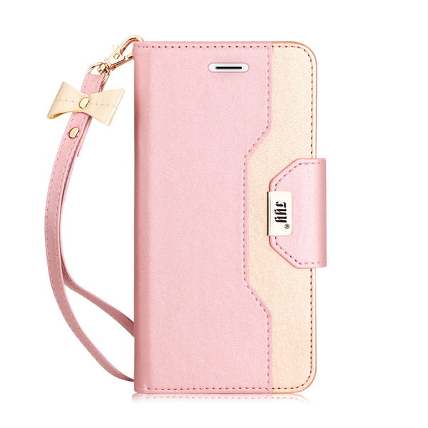 FYY iPhone SE Case, Premium PU Leather Wallet Case with Cosmetic Mirror and Bow-knot Strap for Apple iPhone SE (2016 Release)/5S/5