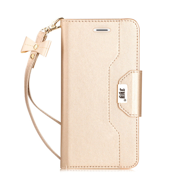 3 FYY iPhone 8 Plus Case, iPhone 7 Plus Case, [RFID Blocking wallet] [Makeup Mirror] Premium PU Leather iPhone 7 Plus/8 Plus Wallet Case with Cosmetic Mirror and Bow-knot Strap