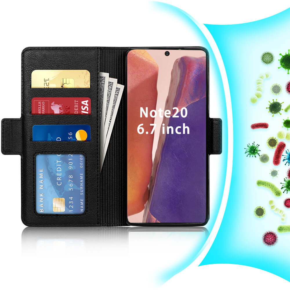 Antibacterial Wallet Case for Galaxy Note 20 6.7""