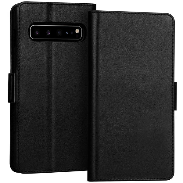 FYY Samsung Galaxy S10 5G Case Luxury [Cowhide Genuine Leather][RFID Blocking] Handcrafted Wallet Case, Handmade Flip Folio Case with [Kickstand Function] and[Card Slots] for Galaxy S10 5G