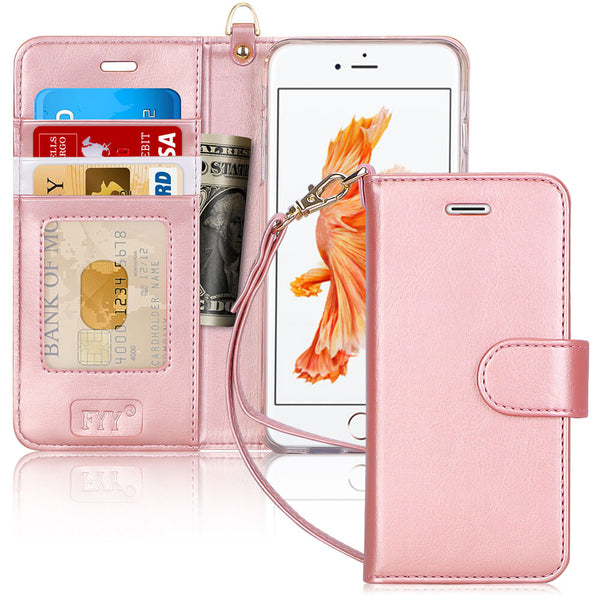 "FYY Case for iPhone 6S Plus/iPhone 6 Plus (5.5""), [Kickstand Feature] Luxury PU Leather Wallet Case Flip Folio Cover with [Card Slots][Wrist Strap] for iPhone 6S+ Plus/iPhone 6+ Plus (5.5"") Rose Gold"
