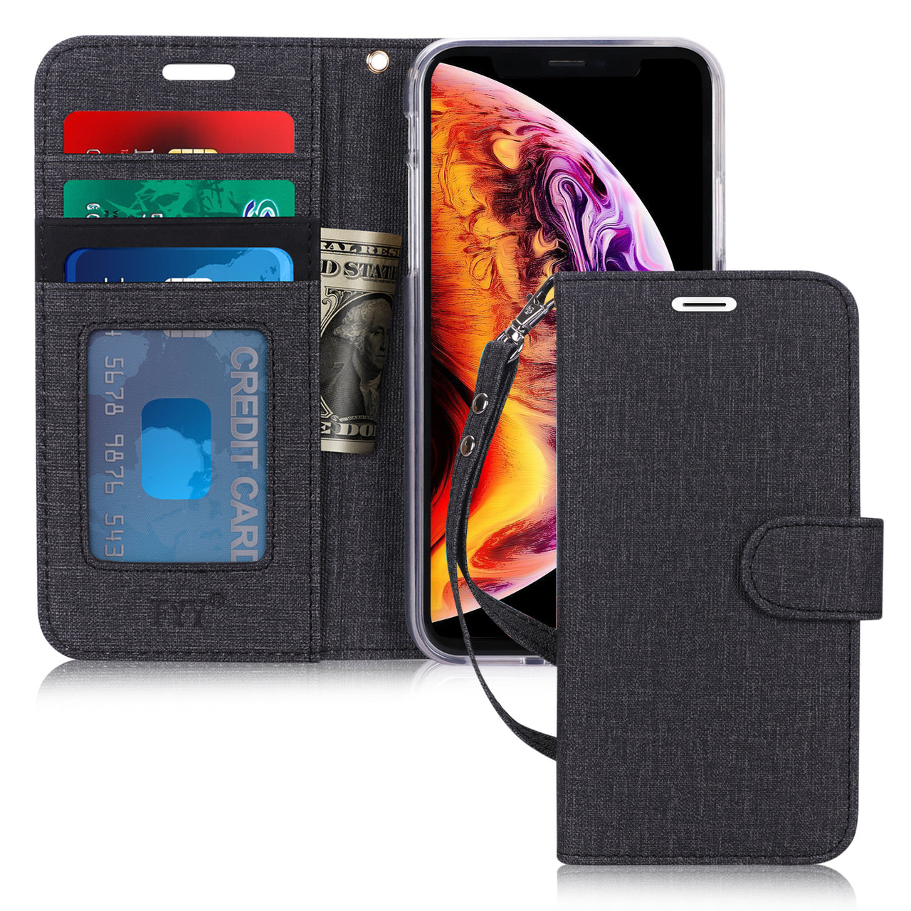 "1st FYY Case for iPhone Xr (6.1"") 2018, [Kickstand Feature] Flip Folio Canvas Wallet Case with ID and Credit Card Pockets for iPhone Xr (6.1"") 2018"