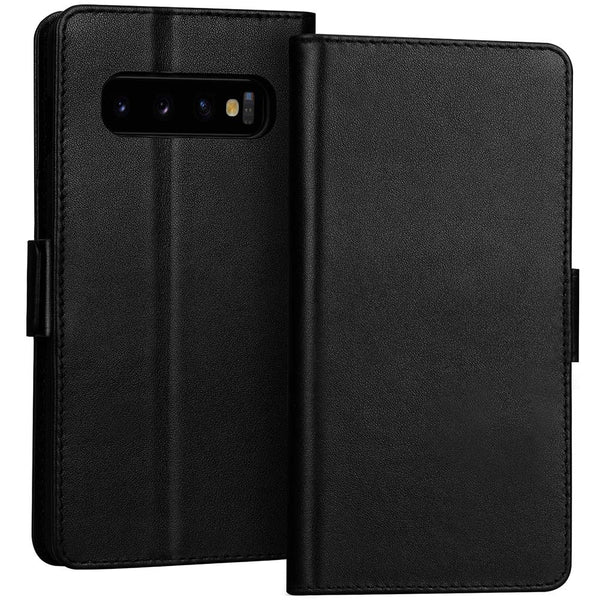 "FYY Luxury [Cowhide Genuine Leather][RFID Blocking] Handcrafted Wallet Case for Galaxy S10, Handmade Flip Folio Case with [Kickstand Function] and [Card Slots] for Galaxy S10 (6.1"")"