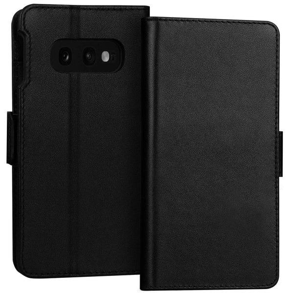 "FYY Luxury [Cowhide Genuine Leather][RFID Blocking] Handcrafted Wallet Case for Galaxy S10e, Handmade Flip Folio Case with [Kickstand Function] and [Card Slots] for Galaxy S10e (5.8"")"