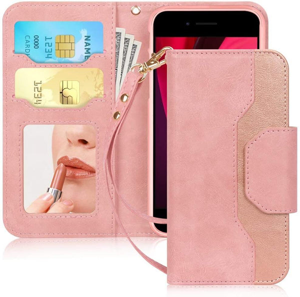 Wallet Case with Mirror for iPhone SE 2020, iPhone 7/8 4.7""