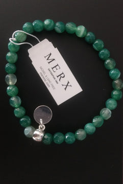 Bracelet 6MM Sea Green Faceted Beads+S.Charm
