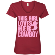 This Girl Loves Her Cowboy Ladies' V-Neck T-Shirt