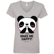 Pandas Make Me happy, You Not so Much Ladies' V-Neck T-Shirt