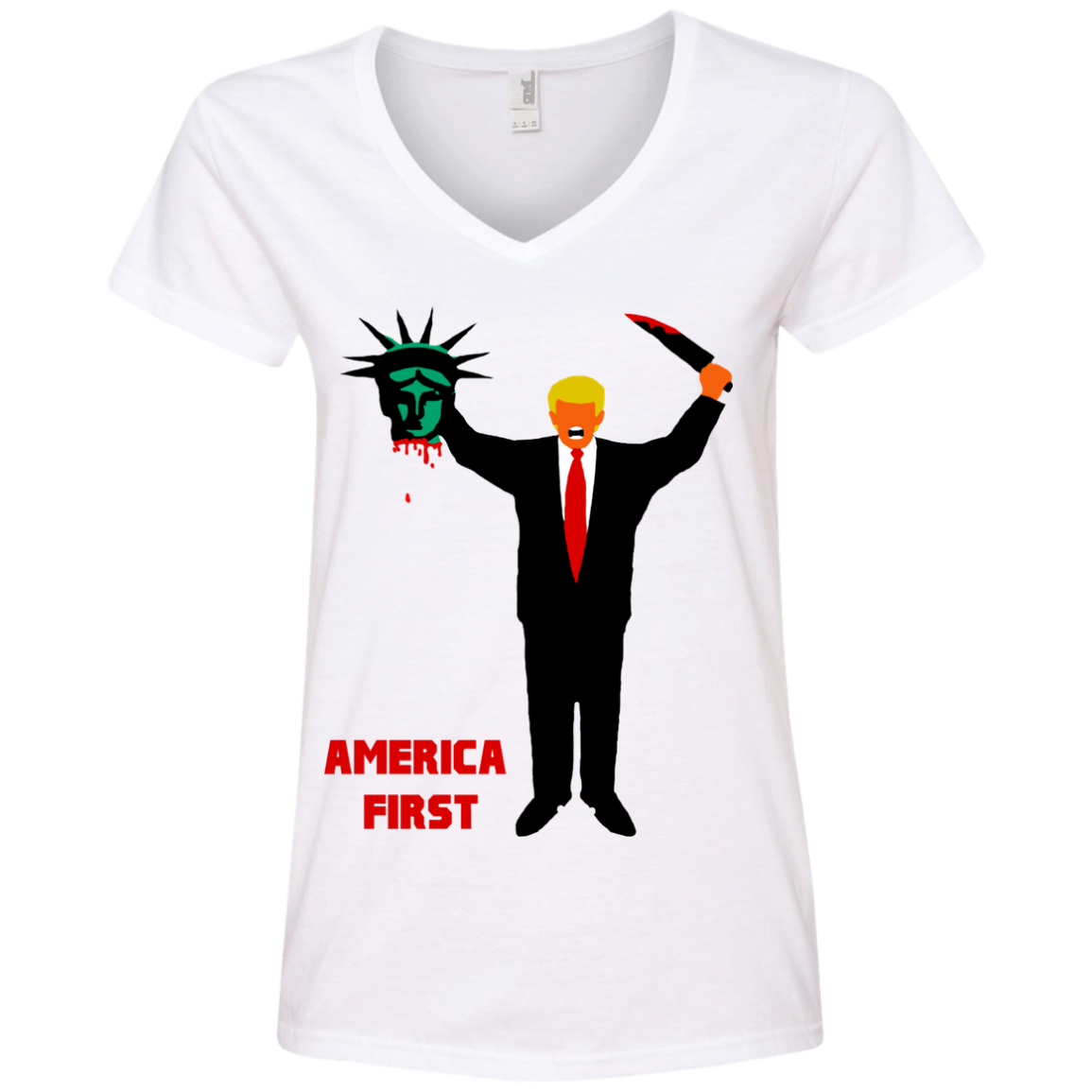 Trump Holding Statue of Liberty Head America First Ladies' V-Neck T-Shirt