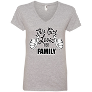 This Girl Loves Her Family Ladies' V-Neck T-Shirt