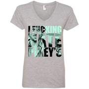 Snatch I Fu*king Hate Pikey's Movie Quote Ladies' V-Neck T-Shirt