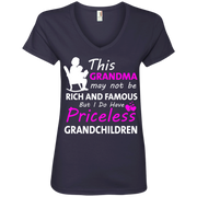 This Grandma may not be Rich and Famous but i do have Priceless Grandchildren Ladies' V-Neck T-Shirt