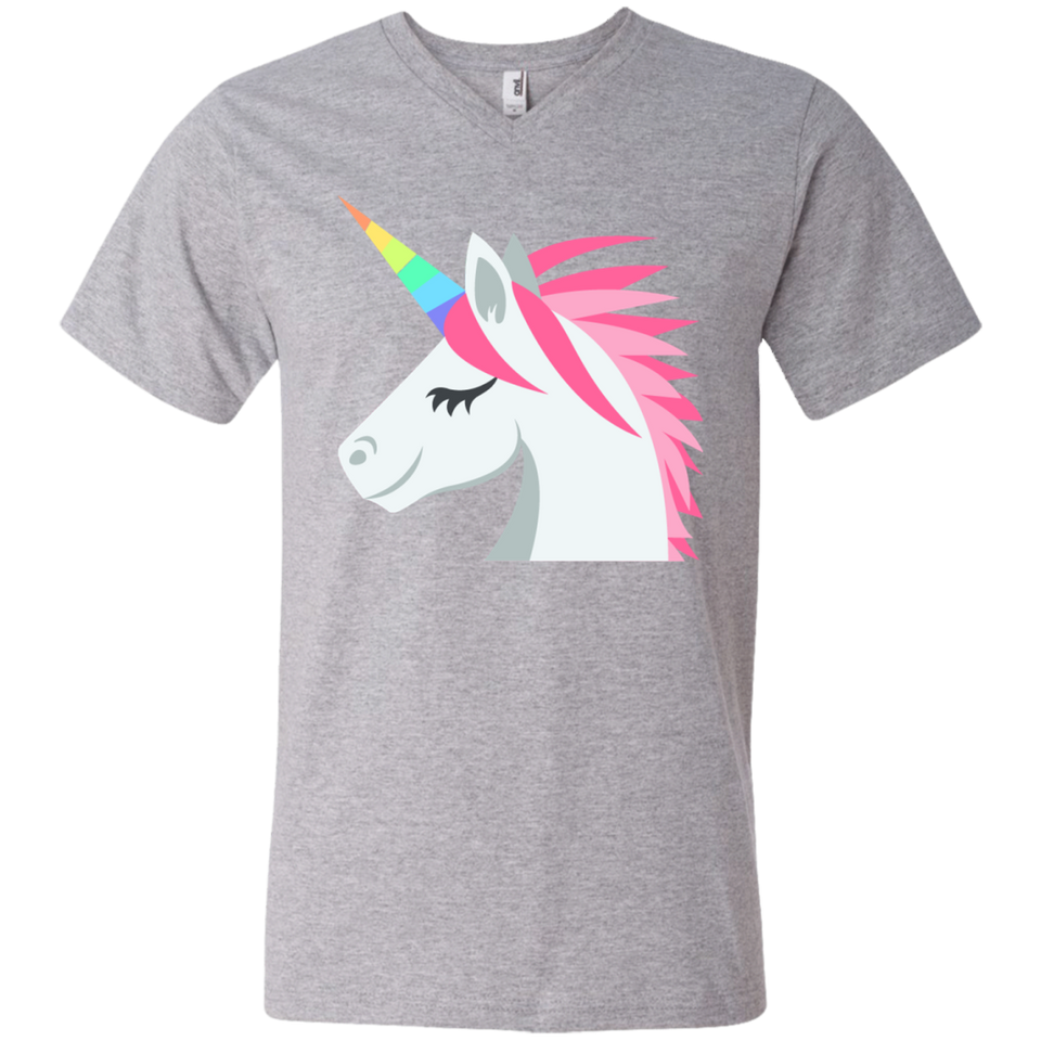 Unicorn Face Emoji Men's V-Neck T-Shirt