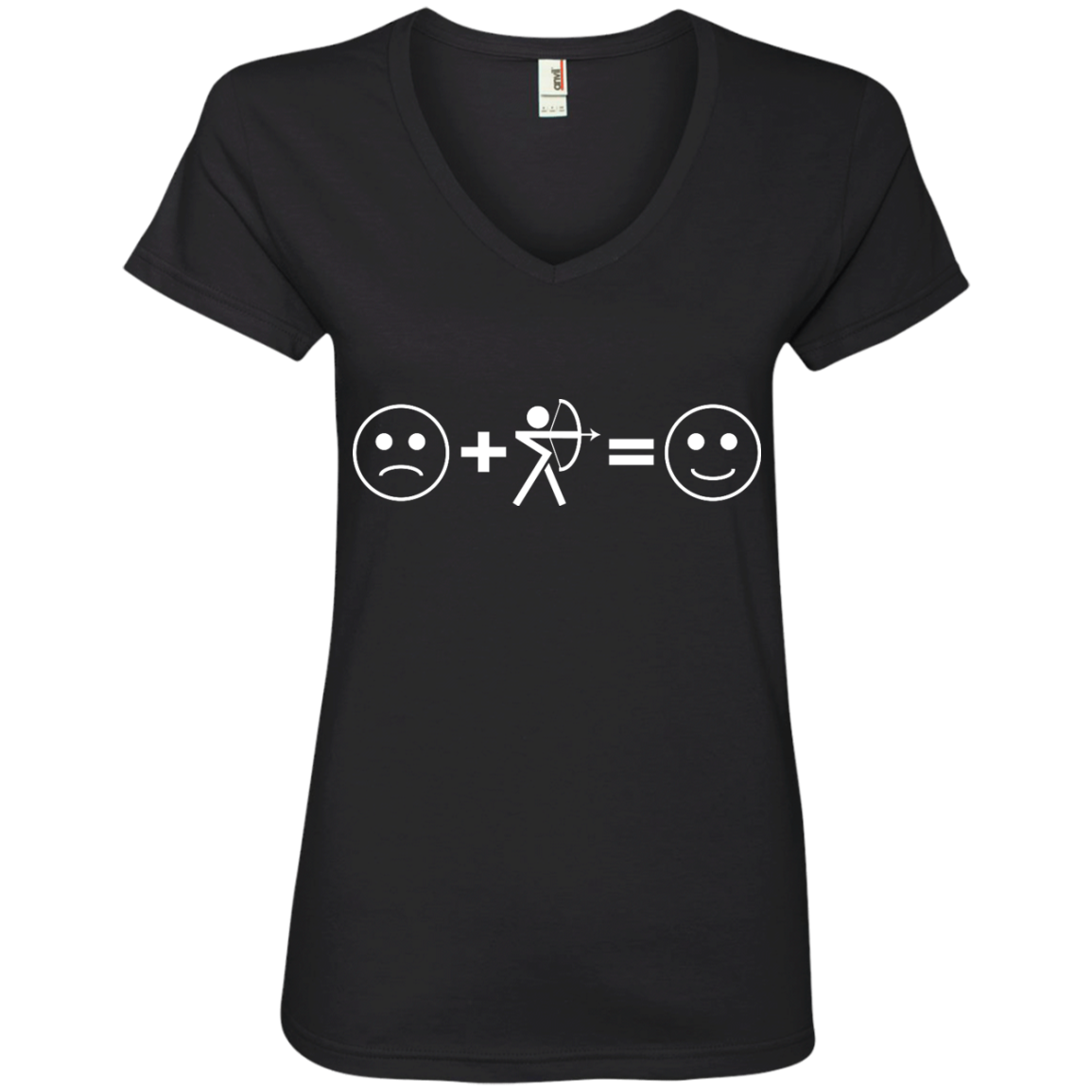 Sad + Archery = Happy Ladies' V-Neck T-Shirt