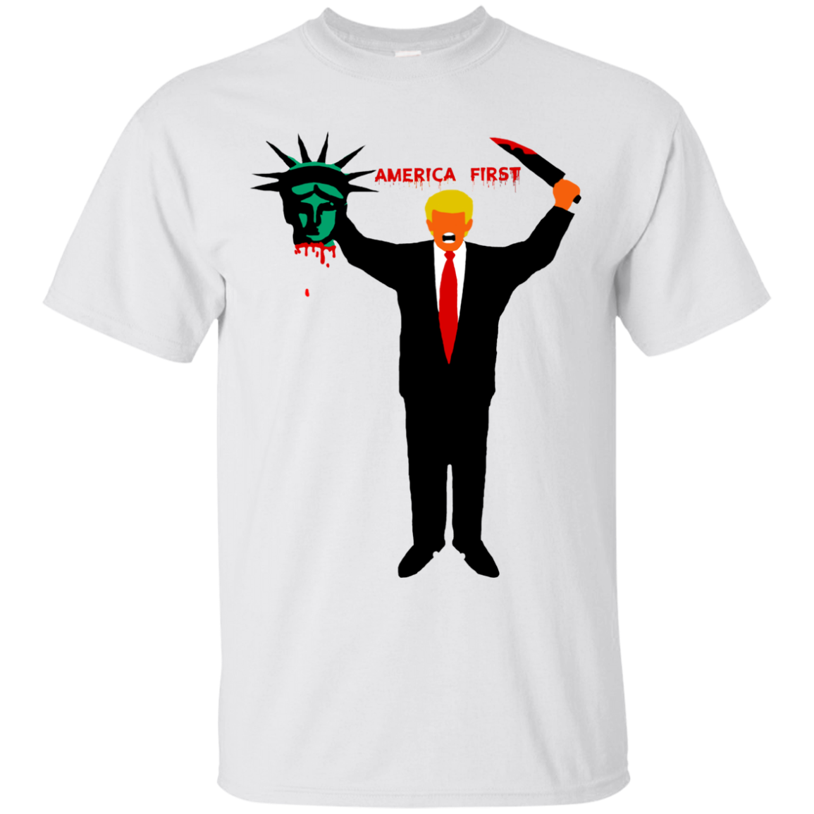 Trump Holding Statue of Liberty Head America First Unisex T-Shirt