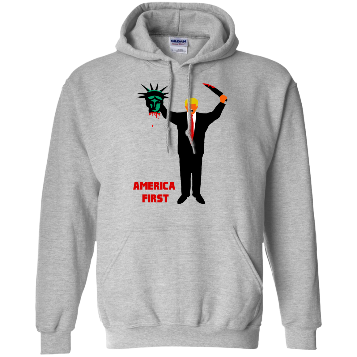 Trump Holding Statue of Liberty Head America First Hoodie