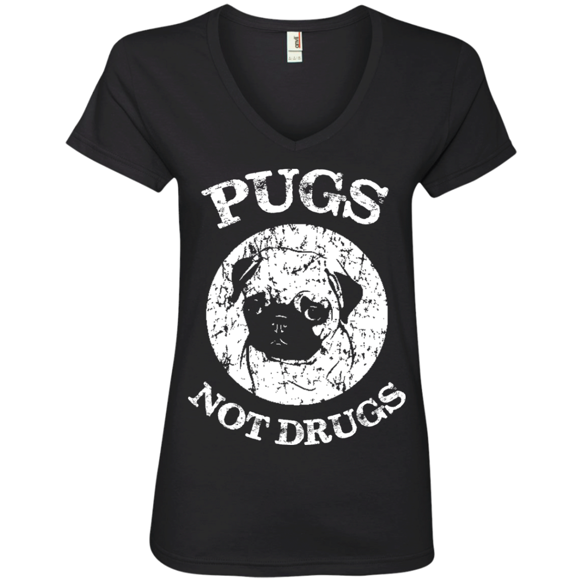 Pugs Not Drugs Ladies' V-Neck T-Shirt