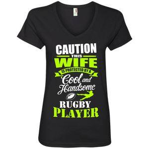 Caution This Wife is Protected By A Cool and Handsome a Rugby Player Ladies' V-Neck T-Shirt