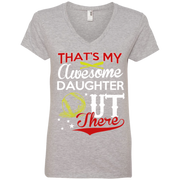 Thats my Awesome Daughter Out There Baseball Ladies' V-Neck Tee