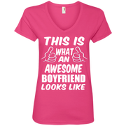 This is What an Awesome Boyfriend Looks Like Ladies' V-Neck T-Shirt