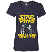 Star Paws Meow the force be with you Ladies' V-Neck T-Shirt
