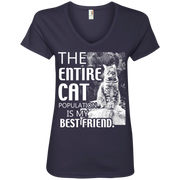 The Entire Cat Population in my Best Friend Ladies' V-Neck T-Shirt