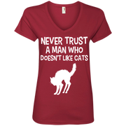 Never Trust a Man who Doesn't Like Cats Ladies' V-Neck T-Shirt