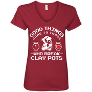 Zelda Good Things Come to Those Who break Clay Pots Ladies' V-Neck T-Shirt