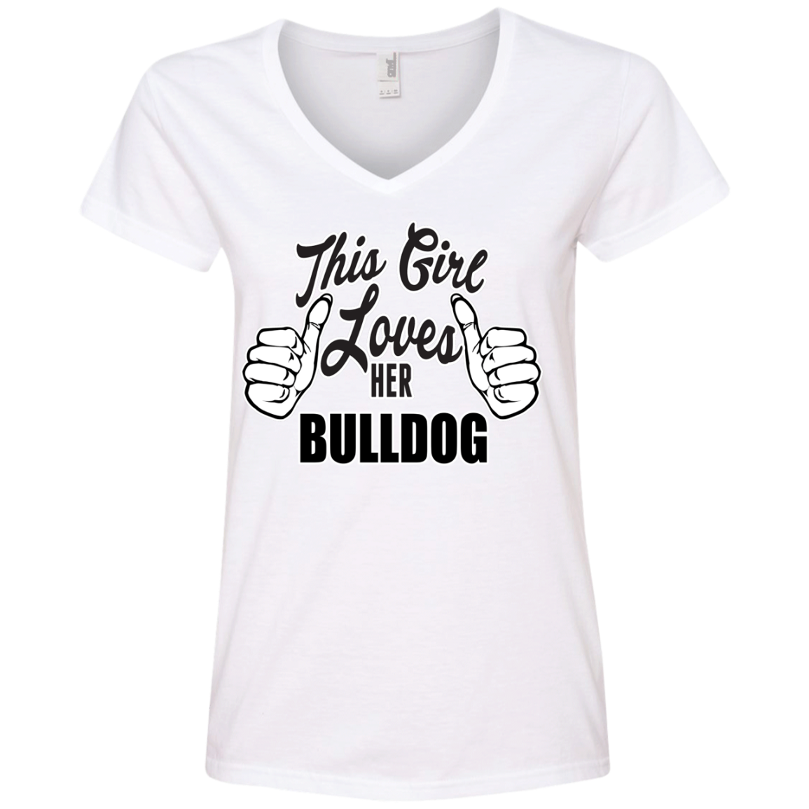 This Girl Loves Her Bulldog Ladies' V-Neck T-Shirt