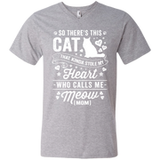 So There's This Cat That Kinda Stole my Heart who calls me Meow (MOM) Men's V-Neck T-Shirt