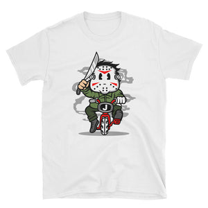 Serial Killer Riding a Bike Halloween T-Shirt