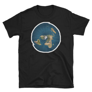 Flat Earth Map Wave Effect T-Shirt