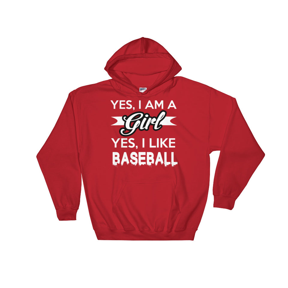 Yes I Am A Girl, Yes I Like Baseball Hoodie