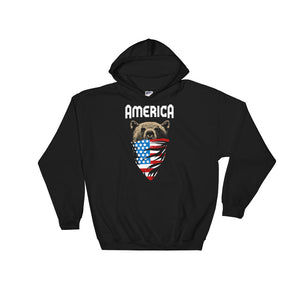 America Bear Wearing the American Flag Hoodie