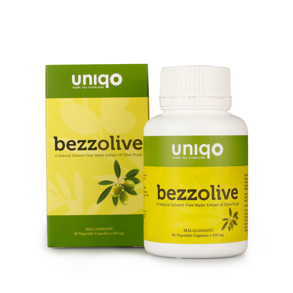 Bezzolive - A Natural Solvent-Free Water Extract of Olive Fruit 60Capsules x 350mg