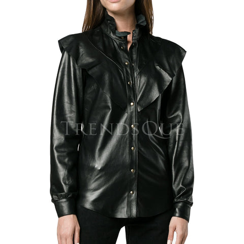 RUFFLE NECK LEATHER SHIRT FOR WOMEN