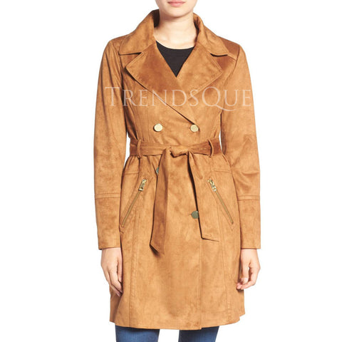 SUEDE DOUBLE BREASTED WOMEN TRENCH COAT