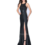 LEATHER CORSET DETAILED LONG EVENING GOWN
