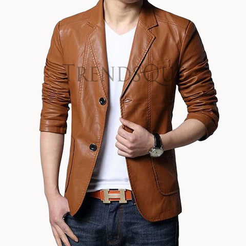 SINGLE BREASTED MEN LEATHER BLAZER