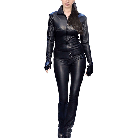 LONG SLEEVES WOMEN LEATHER JUMPSUIT