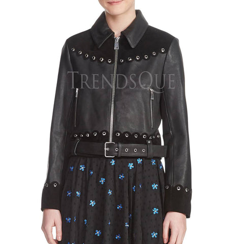 Dual Leather Embellished Leather Women Jacket