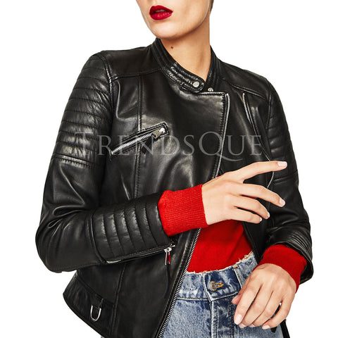 HIGH COLLAR SHORT BIKER LEATHER JACKET