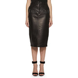 PERFORATED LEATHER PENCIL SKIRT
