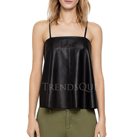 FLARED SHAPE WOMEN LEATHER TOP