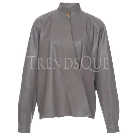 LEATHER WRAP SHIRT FOR WOMEN