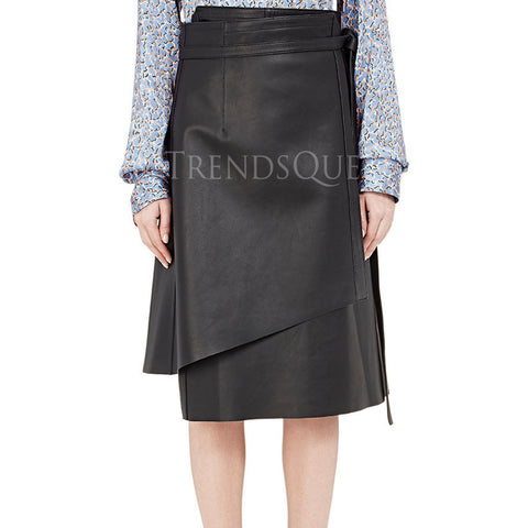 OVER LAP STYLE WOMEN LEATHER SKIRT