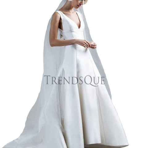 DEEP V NECK LEATHER WEDDING GOWN