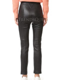 HIGH-RISE WOMEN LEATHER TROUSERS