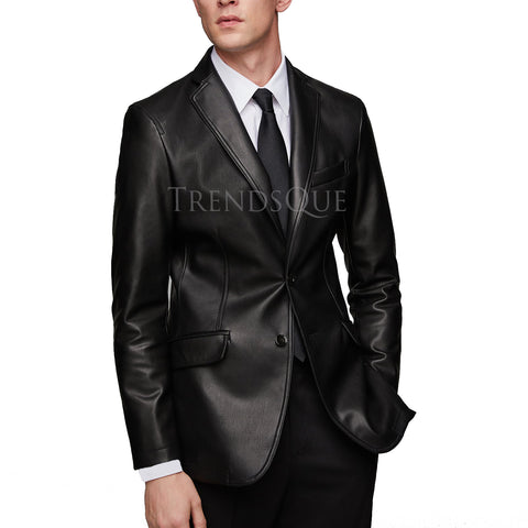NOTCH COLLAR STYLISH MEN LEATHER BLAZER