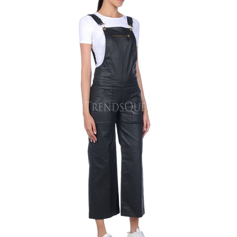 SINGLE CHEST POCKET WOMEN LEATHER JUMPSUIT